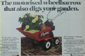 Wheelbarrow attachment for the Flymo DM tiller cultivator