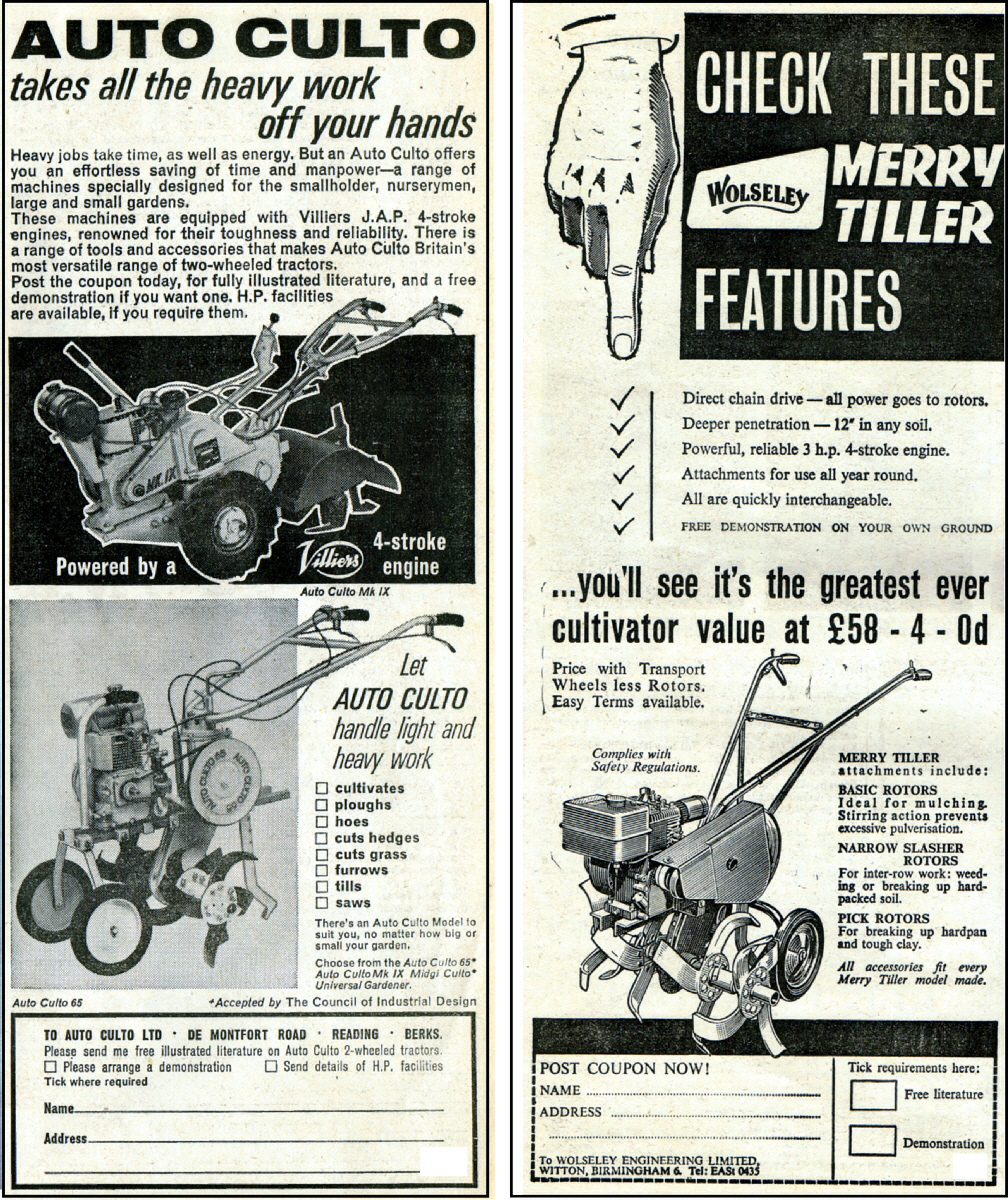 Auto-Culto , De Montfort Road, Reading, Berkshire. And Wolseley Merry Tiller cultivator, £58-4-0 in 1964