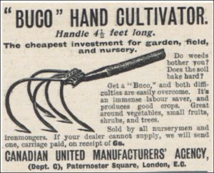 BUCO hand cultivator. The cheapest investment for garden, field and nursery. 1910.