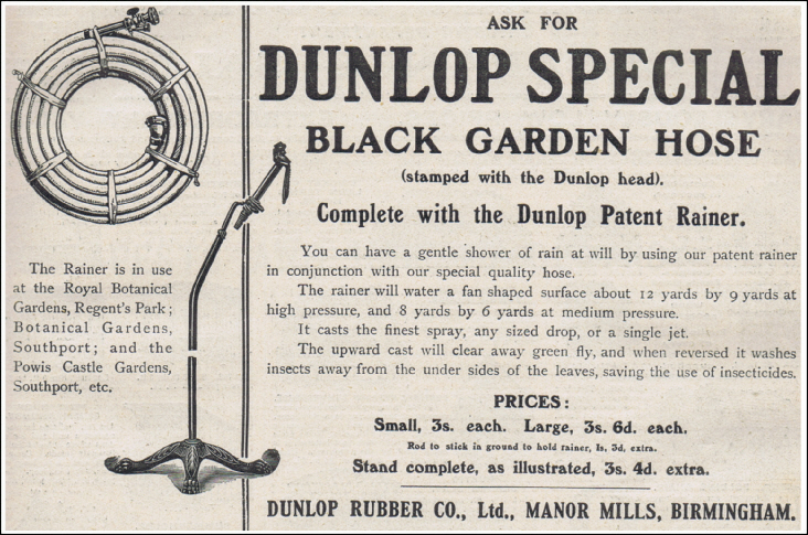 Dunlop Special Black Garden Hosepipe and Dunlop Patent Rainer 1910