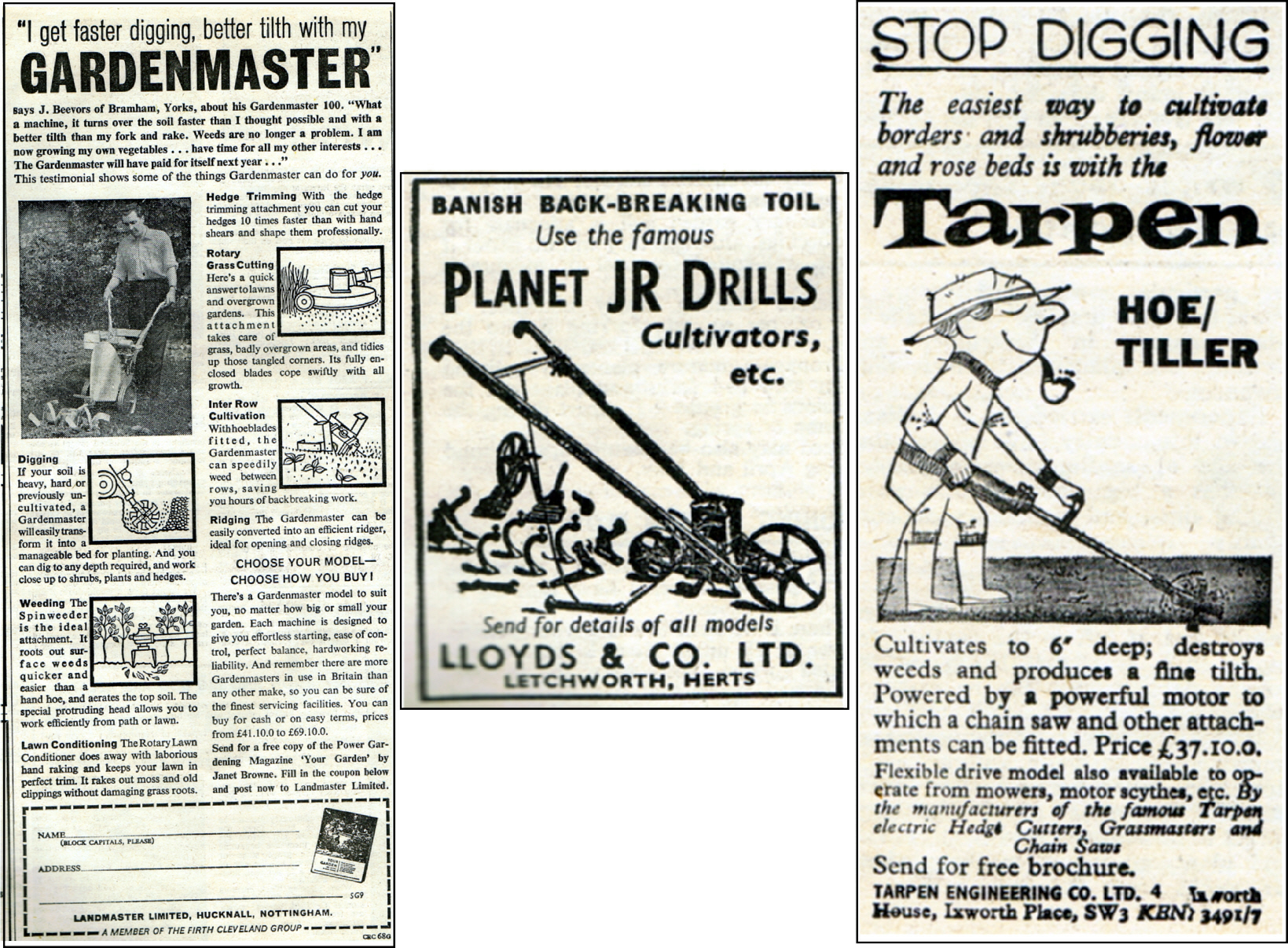 Gardenmaster Limited, Planet JR Drills and Tarpen Hoe in 1964