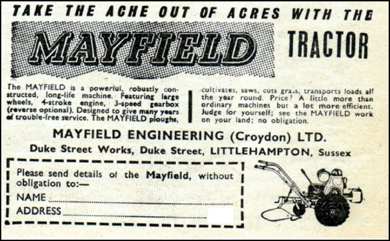 Mayfield Tractor 1964. Mayfield Engineering (Croydon) Ltd, Littlehampton,. Sussex.
