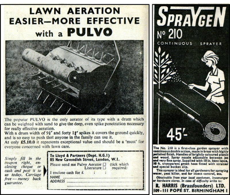 Pulvo Lawn Aerator by Lloyd & Partners London. Spraygen No 210 Sprayer, R. Harris LTD Birmingham in 1964