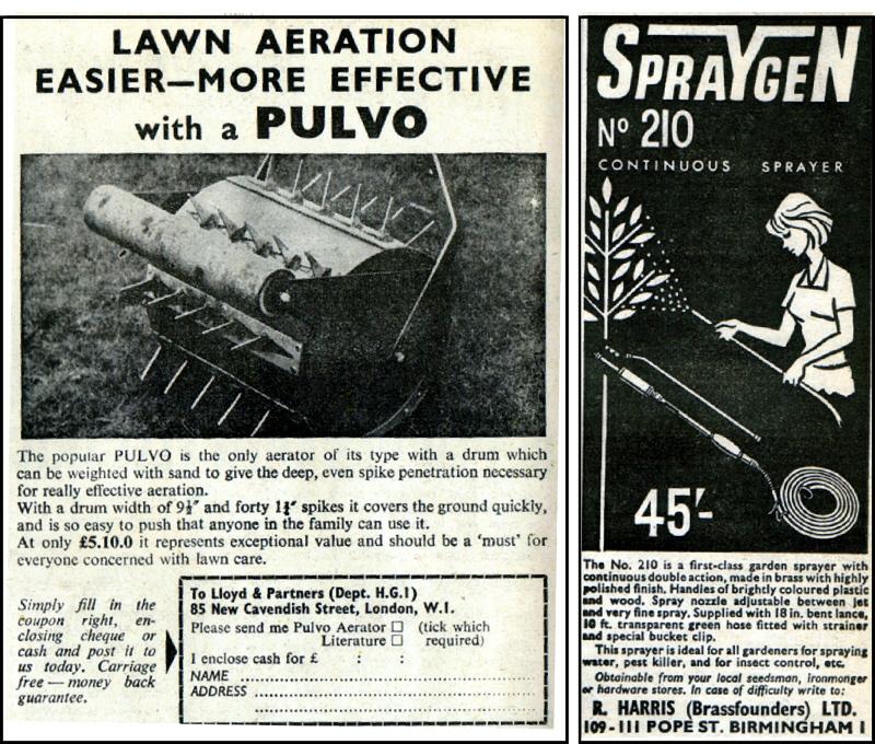 Pulvo Lawn Aerator by Lloyd & Partners London. Spraygen No 210 Sprayer, R. Harris LTD Birmingham in 1964