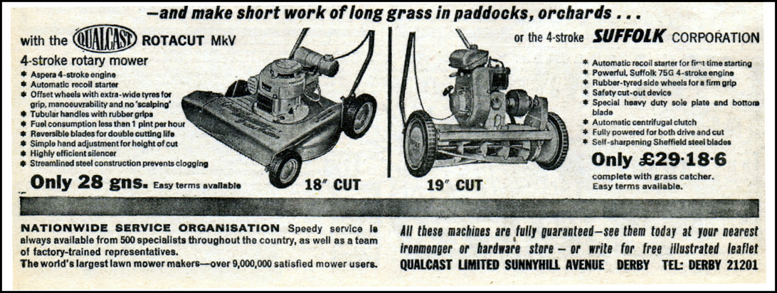 Qualcast Rotacut MKV and Suffolk Corporation mower. Sunnyhill Avenue, Derby. 1964