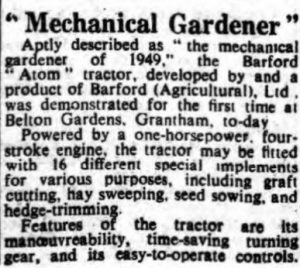 Barford Atom April 1949 - UK advert