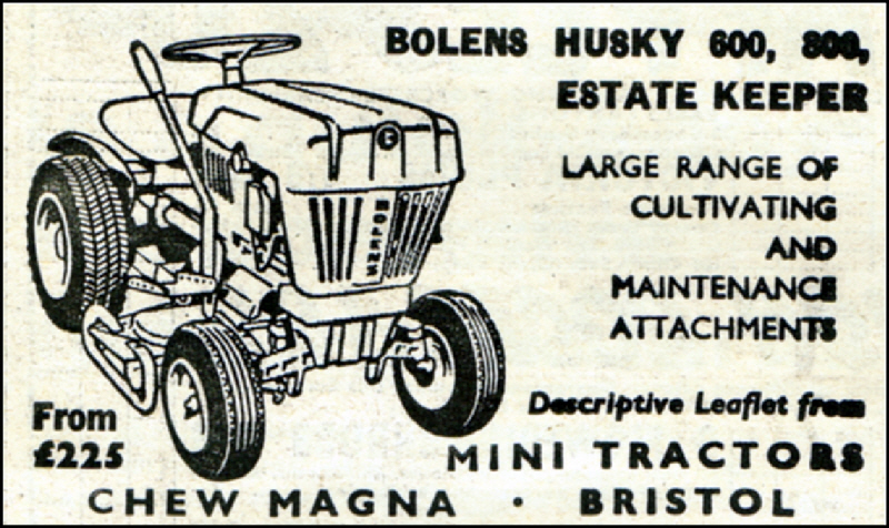 A 1964 Bolens Husky Advert. £225.00. Mini Tractors, Chew Magna, Bristol.