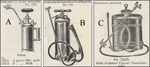 Pneumatic hand sprayer and knapsack sprayers
