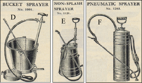 Vintage bucket sprayers including non-splash and pneumatic