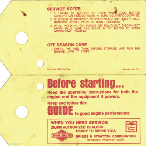Briggs & Stratton Engine Maintenance Card