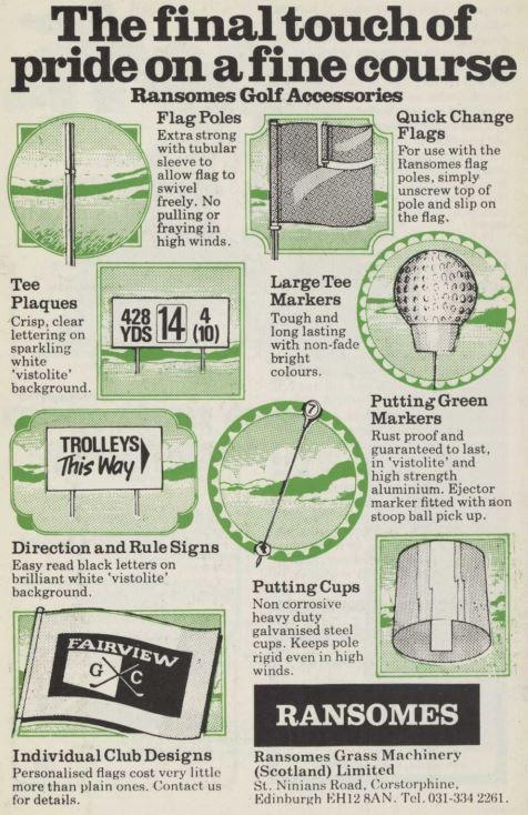 Ransomes Golf Accessories Vintage Advert