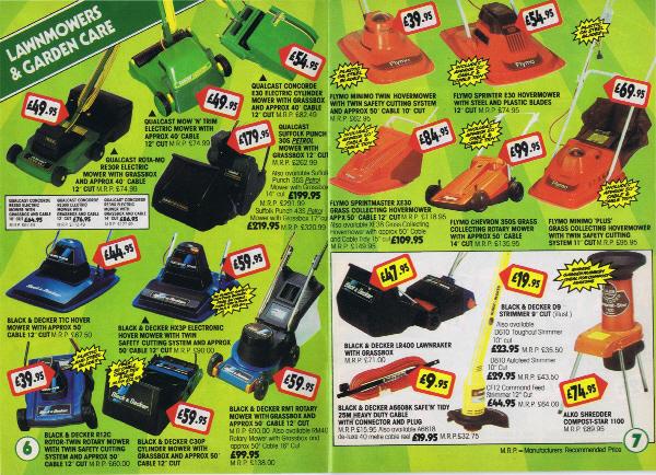 1986 Qualcast, Black & Decker, Flmo mowers from B&Q