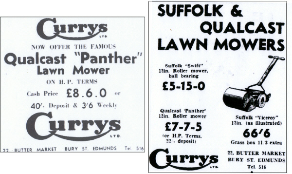 Currys Qualcast Panther Advert and Price in 1955