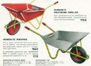Ironcrete Wheelbarrows from the 1960's.