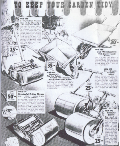 Littlewoods Catalogue 1940 Lawnmowers and gardening equipment