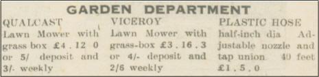 Falkirk Newspaper Advert Selling Qualcast & Viceroy Mowers in 1955