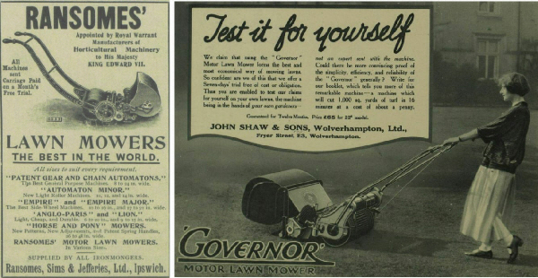 Ransomes 1904 and Governor Mower 1924