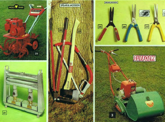 Gardening machines and tools from Argos in the 1970's.