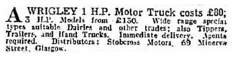 Request for Wrigley Truck agents in Scotland 1950