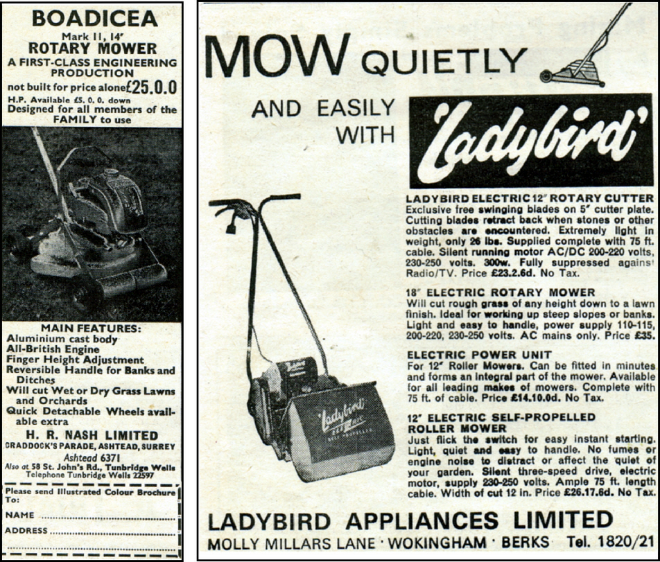 Nash Boadicea Rotary Mower £25, and Ladybird Appliances LTD electric mowers 1964