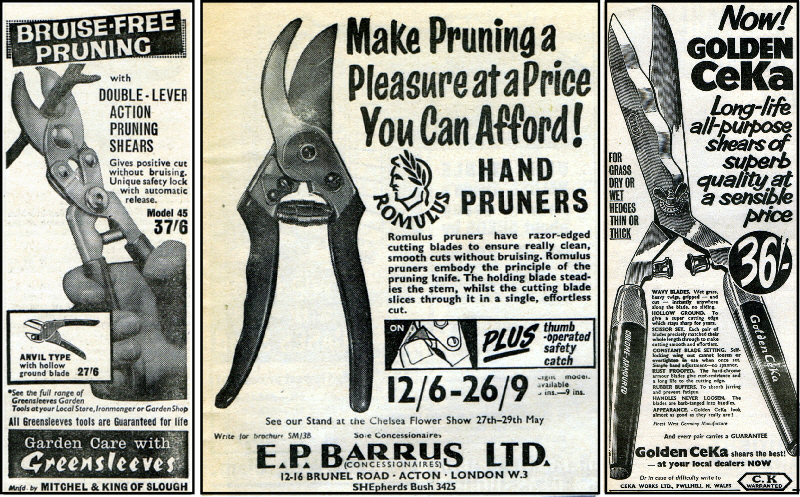 Secateurs and Shears from Greensleeves, E.P.Barrus LTD and C.K in 1964 with prices.