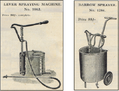 Lever spraying machine and a barrow sprayer
