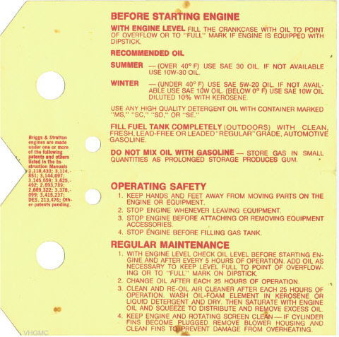 Briggs & Stratton Engine Maintenance Card - Side 2